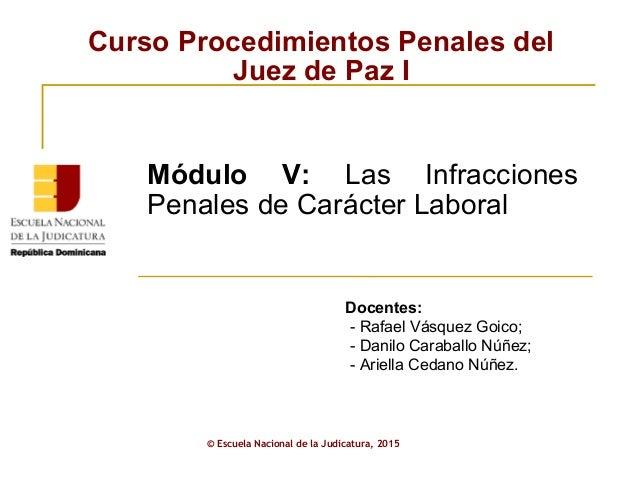 Curso Procedimientos Penales del Juez de Paz I © Escuela Nacional de la Judicatura, 2015 Módulo V: Las Infracciones Penale...