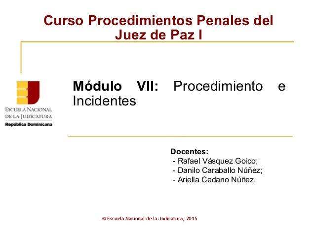 Curso Procedimientos Penales del Juez de Paz I © Escuela Nacional de la Judicatura, 2015 Módulo VII: Procedimiento e Incid...