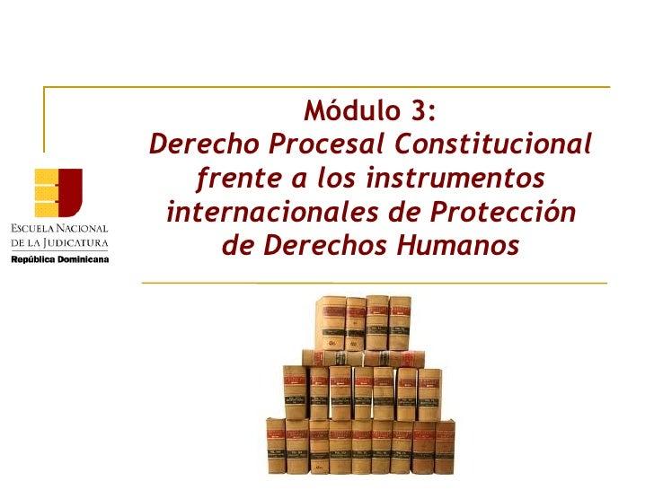 Módulo 3:Derecho Procesal Constitucional   frente a los instrumentos internacionales de Protección     de Derechos Humanos