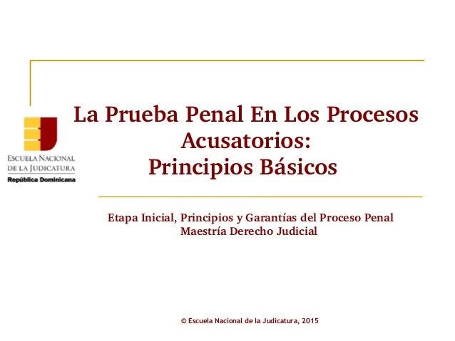 LaPruebaPenalEnLosProcesos Acusatorios: PrincipiosBásicos © Escuela Nacional de la Judicatura, 2015 EtapaInicial,...