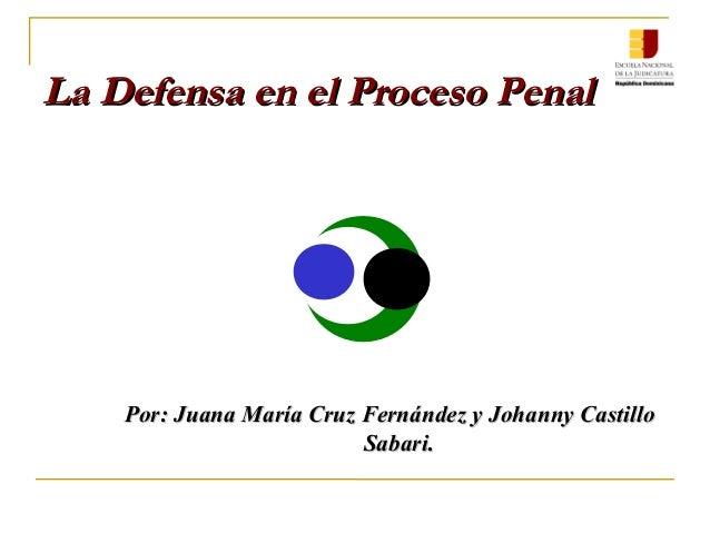 Por: Juana María Cruz Fernández y Johanny CastilloPor: Juana María Cruz Fernández y Johanny Castillo Sabari.Sabari. La Def...