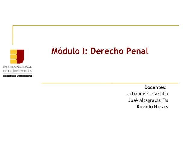 Módulo I: Derecho Penal  Docentes: Johanny E. Castillo José Altagracia Fis Ricardo Nieves