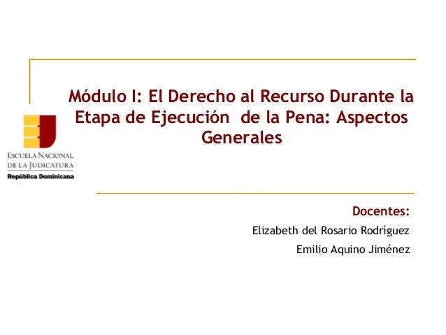 Módulo I: El Derecho al Recurso Durante la Etapa de Ejecución de la Pena: Aspectos Generales  Docentes: Elizabeth del Rosa...