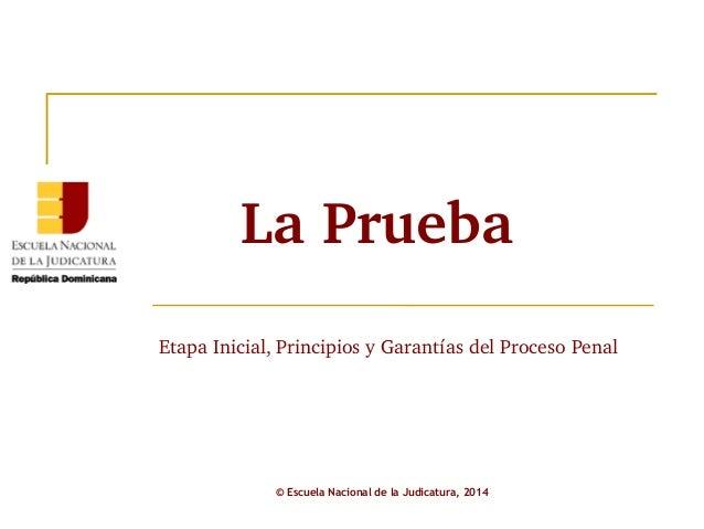 La Prueba  Etapa Inicial, Principios y Garantías del Proceso Penal  © Escuela Nacional de la Judicatura, 2014