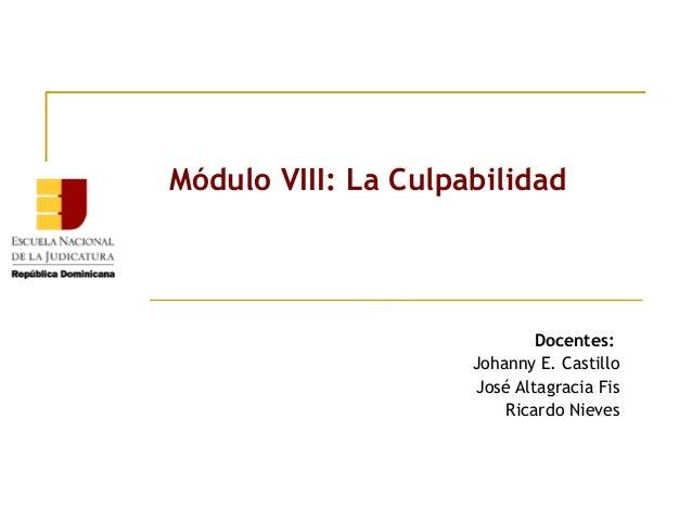 Módulo VIII: La Culpabilidad  Docentes: Johanny E. Castillo José Altagracia Fis Ricardo Nieves