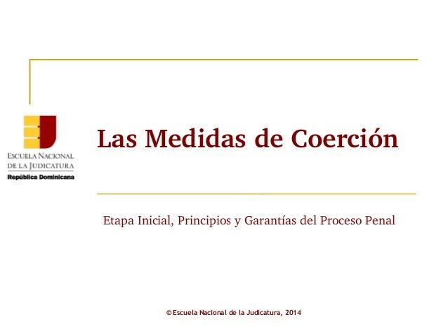 Las Medidas de Coerción  Etapa Inicial, Principios y Garantías del Proceso Penal  © Escuela Nacional de la Judicatura, 201...