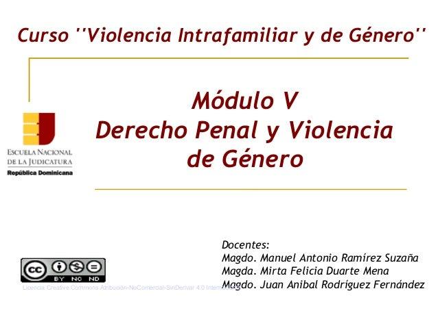 Módulo V Derecho Penal y Violencia de Género Curso ''Violencia Intrafamiliar y de Género'' Docentes: Magdo. Manuel Antonio...