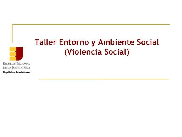 Taller Entorno y Ambiente Social (Violencia Social)