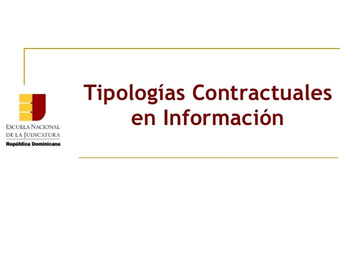 Tipologías Contractuales en Información