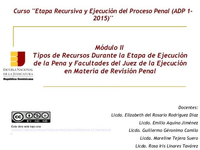 Módulo II Tipos de Recursos Durante la Etapa de Ejecución de la Pena y Facultades del Juez de la Ejecución en Materia de R...