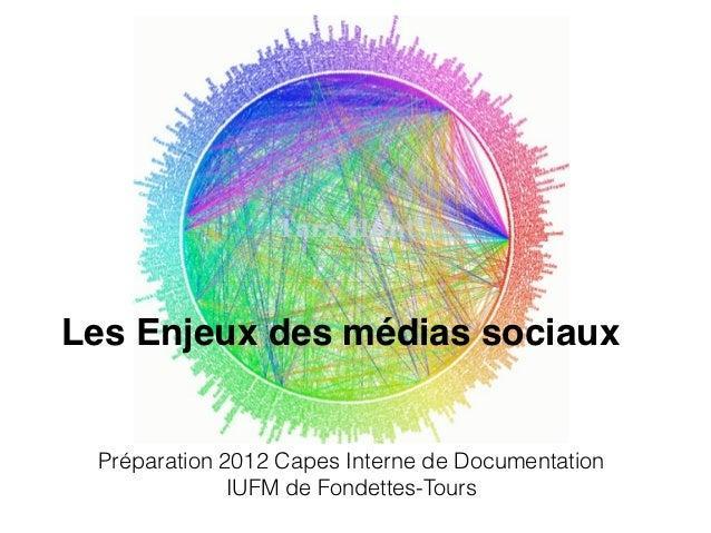 Les Enjeux des médias sociaux Préparation 2012 Capes Interne de Documentation              IUFM de Fondettes-Tours