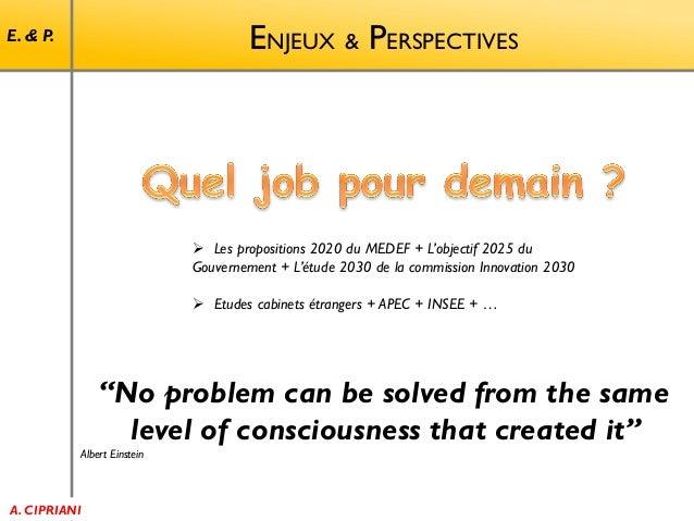 ENJEUX & PERSPECTIVES  E. & P.   Les propositions 2020 du MEDEF + L'objectif 2025 du Gouvernement + L'étude 2030 de la co...