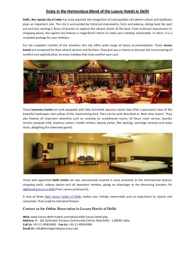 Enjoy in the Harmonious Blend of the Luxury Hotels in Delhi