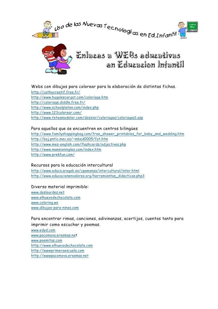Enlaces a WEBs educativas                                en Educacion InfantilWebs con dibujos para colorear para la elabo...