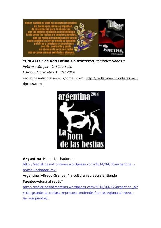 """""""ENLACES"""" de Red Latina sin fronteras, comunicaciones e información para la Liberación Edición digital Abril 15 del 2014 r..."""