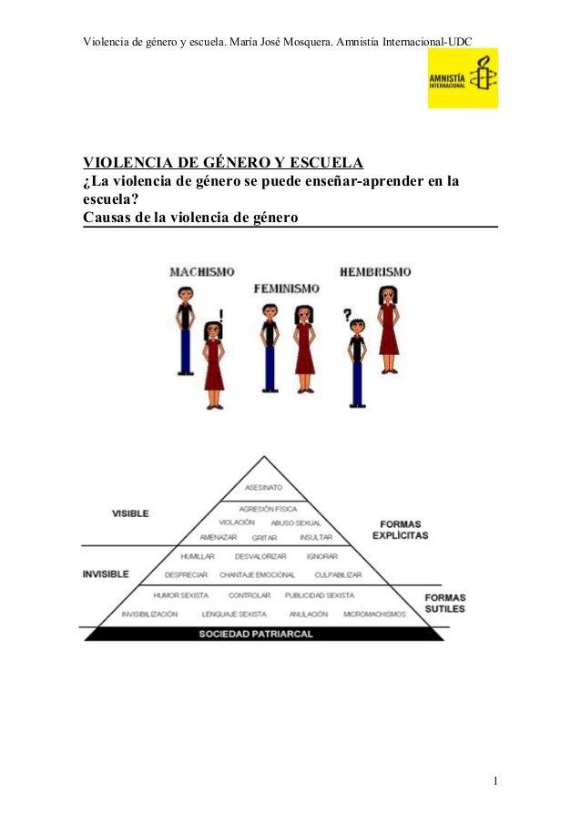 Violencia de género y escuela. María José Mosquera. Amnistía Internacional-UDC  VIOLENCIA DE GÉNERO Y ESCUELA ¿La violenci...