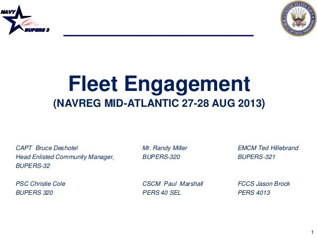 NAVY BUPERS 3 1 Fleet Engagement (NAVREG MID-ATLANTIC 27-28 AUG 2013) CAPT Bruce Deshotel Mr. Randy Miller EMCM Ted Hilleb...