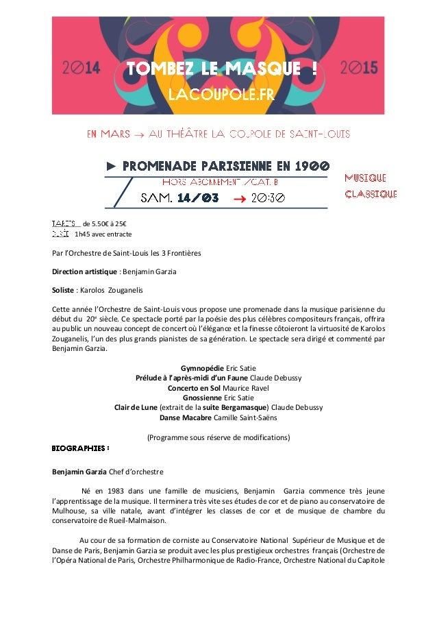  ►  de 5.50€ à 25€ 1h45 avec entracte Par l'Orchestre de Saint-Louis les 3 Frontières Direction artistique : Benjamin Ga...