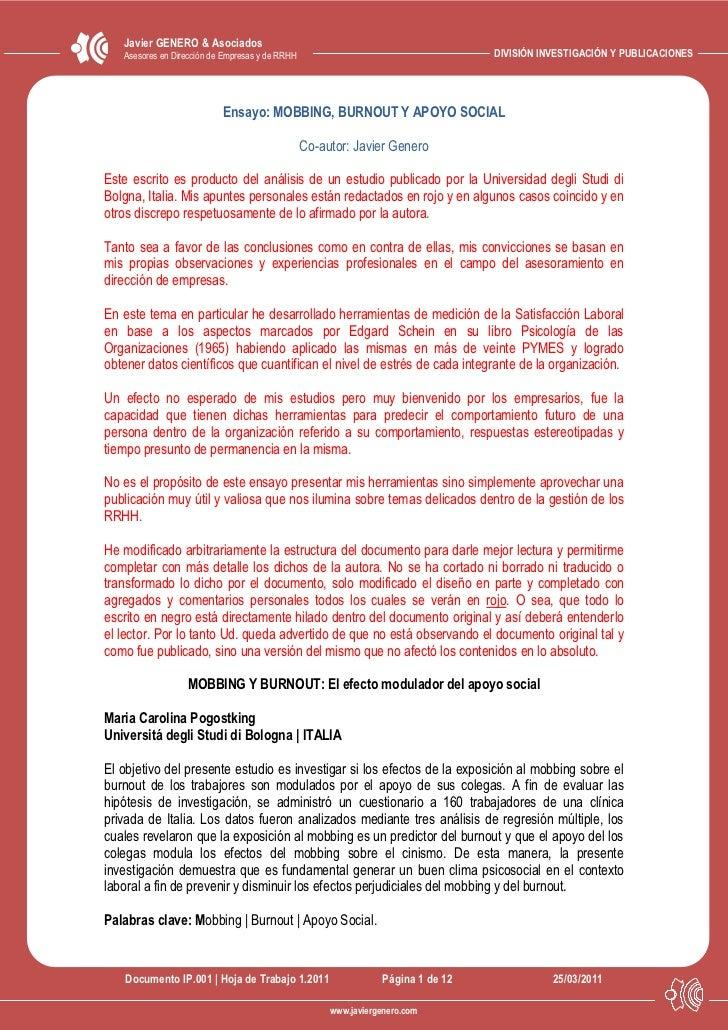 Javier GENERO & Asociados   Asesores en Dirección de Empresas y de RRHH                                     DIVISIÓN INVES...