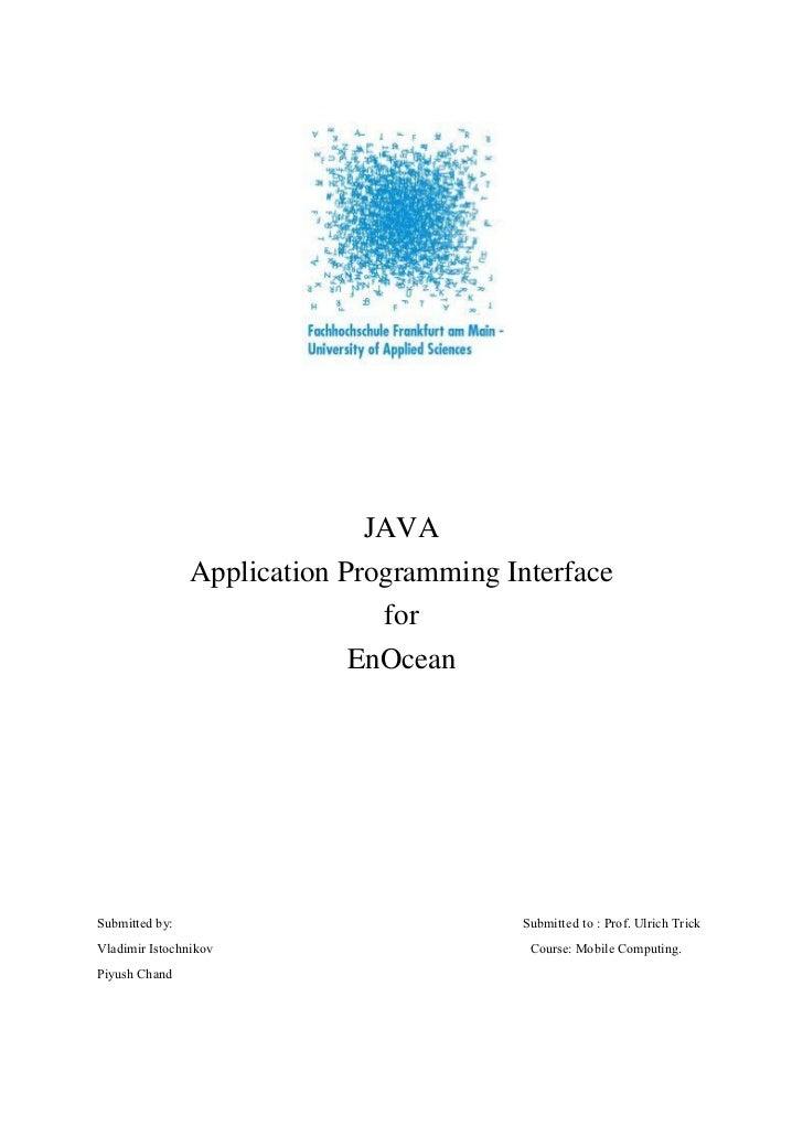 JAVA                Application Programming Interface                               for                             EnOcea...