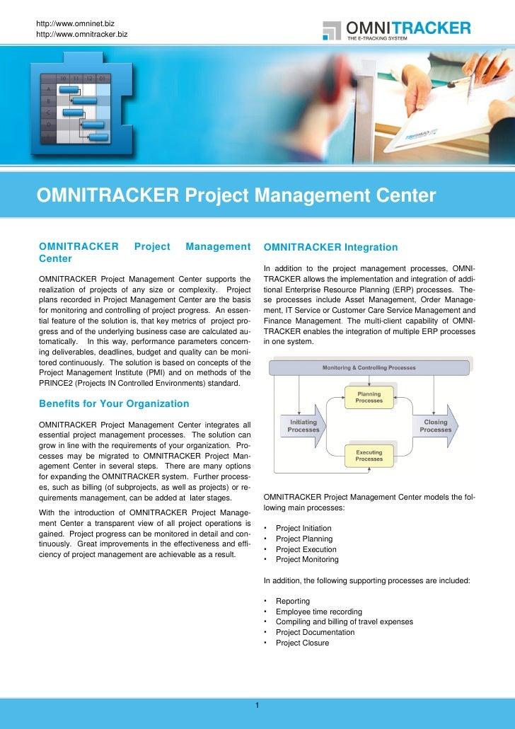 OMNITRACKER Project Management Center