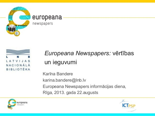 Europeana Newspapers Information Day In Riga, Latvia