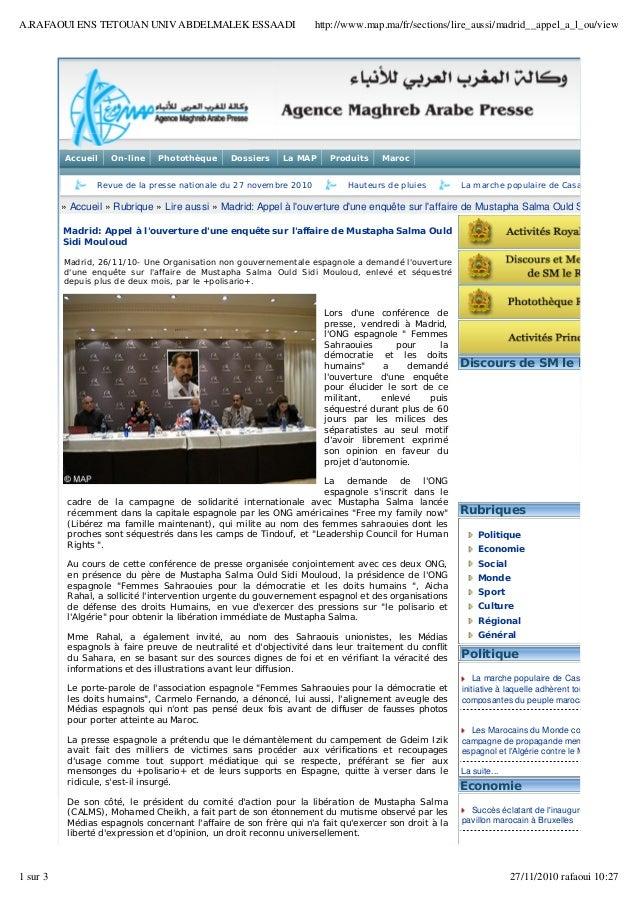 Accueil On-line Photothèque Dossiers La MAP Produits Maroc Revue de la presse nationale du 27 novembre 2010 Hauteurs de ...