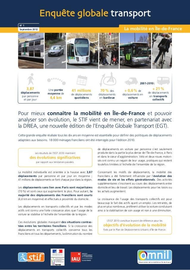 Enquête globale transport N° 1 Septembre 2012                                                                          La ...