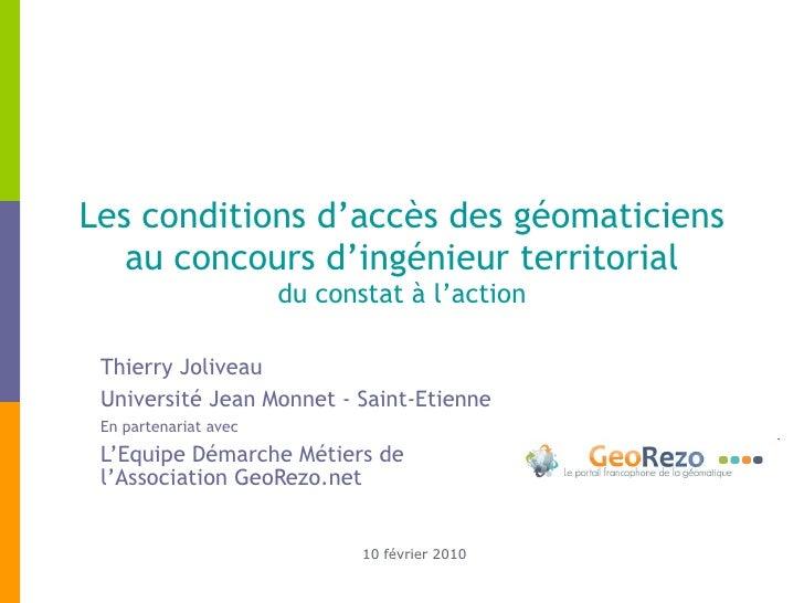 Les conditions d'accès des géomaticiens au concours d'ingénieur territorial  du constat à l'action  Thierry Joliveau  Univ...