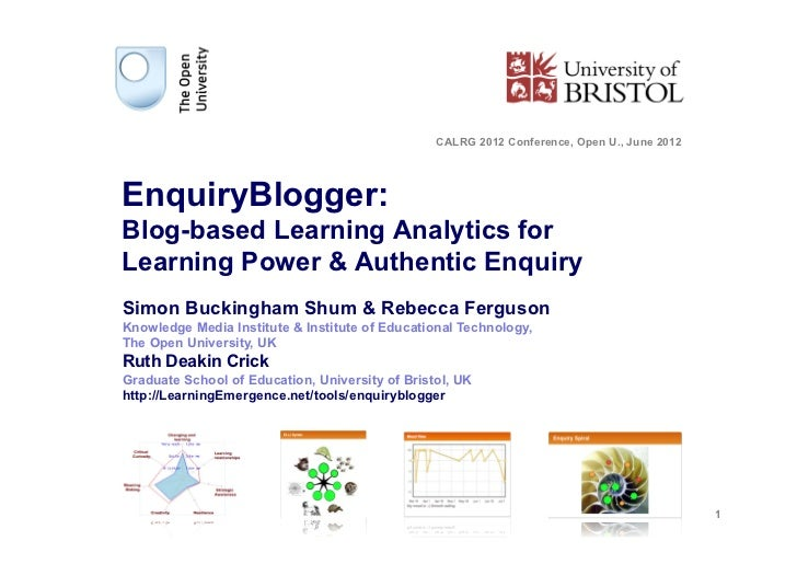 CALRG 2012 Conference, Open U., June 2012EnquiryBlogger:Blog-based Learning Analytics forLearning Power & Authentic Enquir...