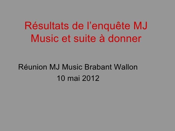 Résultats de l'enquête MJ  Music et suite à donnerRéunion MJ Music Brabant Wallon         10 mai 2012