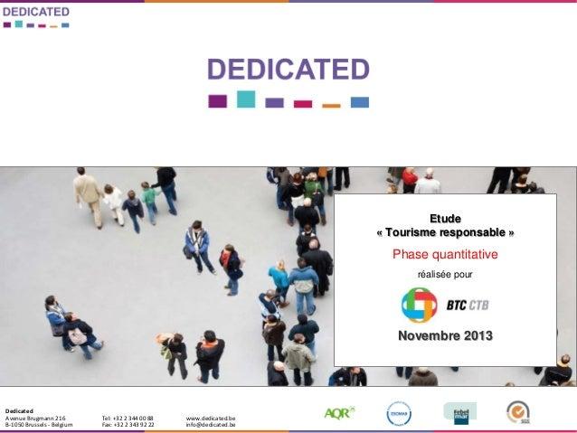 Enquête d'opinion quantitative sur le tourisme responsable  (Nov 13_ version courte)