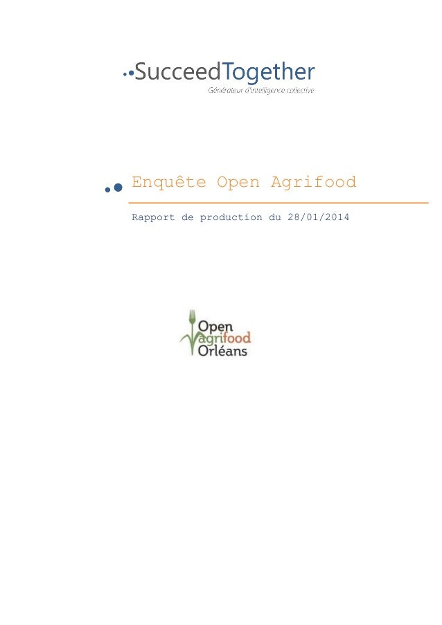 Enquête Open Agrifood 	    	     	     Rapport de production du ...
