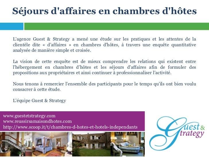 Etude sur les séjours d'affaires en chambres d'hôtes - Agence Guest & Strategy
