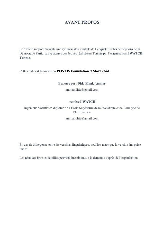 AVANT PROPOS  Le présent rapport présente une synthèse des résultats de l'enquête sur les perceptions de la Démocratie Par...