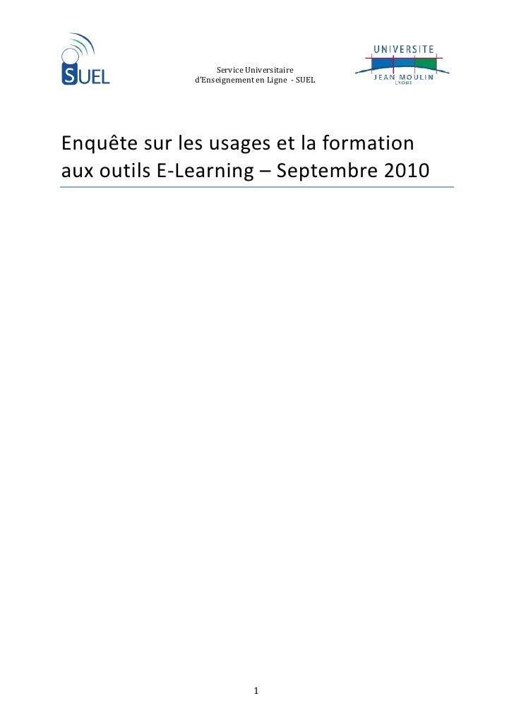 ServiceUniversitaire             d'EnseignementenLigne‐SUEL         Enquêtesurlesusagesetlaformation aux...