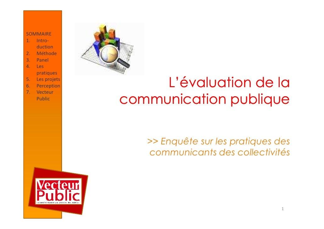 Etude : l'évaluation de la communication publique