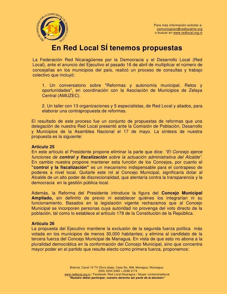 En Red Local SÍ tenemos propuestas a las Reformas a Ley de Municipios - Nicaragua