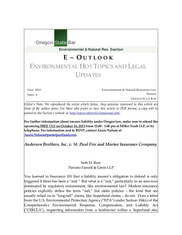 Environmental & Natural Res. Section  E – OUTLOOK ENVIRONMENTAL HOT TOPICS AND LEGAL UPDATES Year 2013 Issue 4  Environmen...