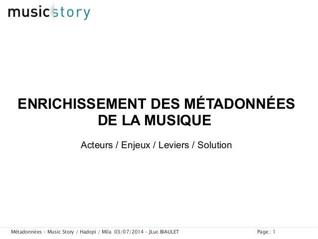 Page : 1Métadonnées – Music Story / Hadopi / Mila 03/07/2014 – JLuc BIAULET ENRICHISSEMENT DES MÉTADONNÉES DE LA MUSIQUE A...