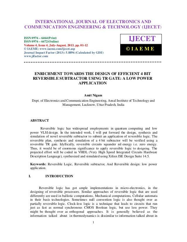 Enrichment towards the design of efficient 4 bit reversible subtractor 2