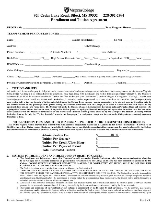 Enrollment agreement biloxi final 12 8 14 for Tuition contract template