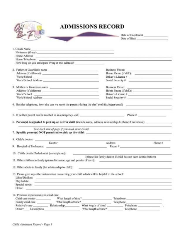 Authorization and Permission Form for _______________________ (child's name)I/We _________________________________________...