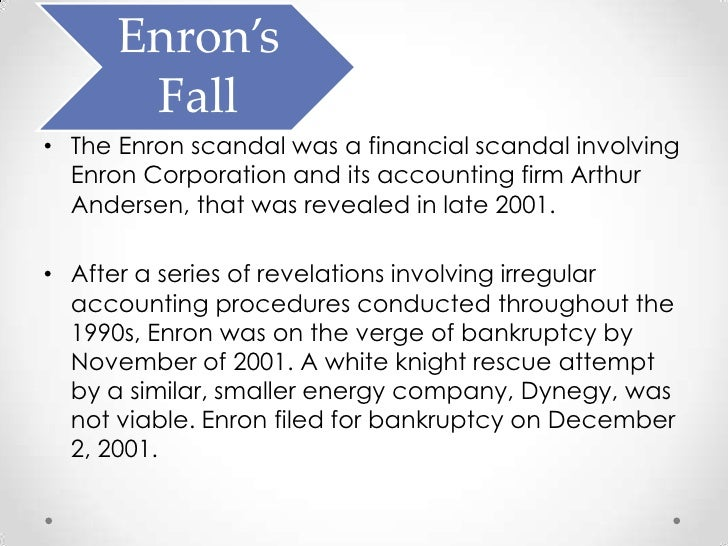 enron corporation files for bankruptcy after years of service Like lay and kinder, mark had come to enron from houston natural gas  after taking two years off to earn a harvard mba, mark convinced lay to  the gas bank would be named enron gas services and, later, enron capital and trade resources (ect)  on december 2, enron filed for bankruptcy.