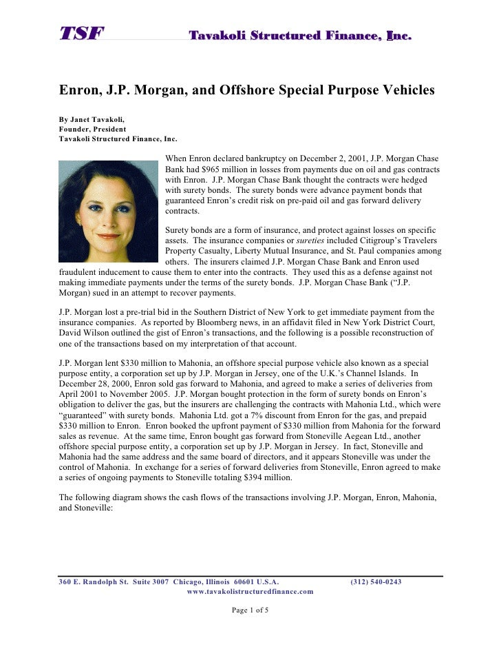 Enron, JPMorgan, and Offshore Special Purpose Vehicles