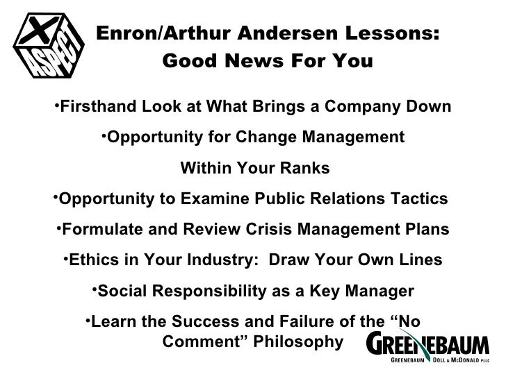 a review of enron and andersen On dec 31, 1989, enron's market value was $3 billion by the spring of 2001, enron's market value had grown to $80 billion today, enron is bankrupt.