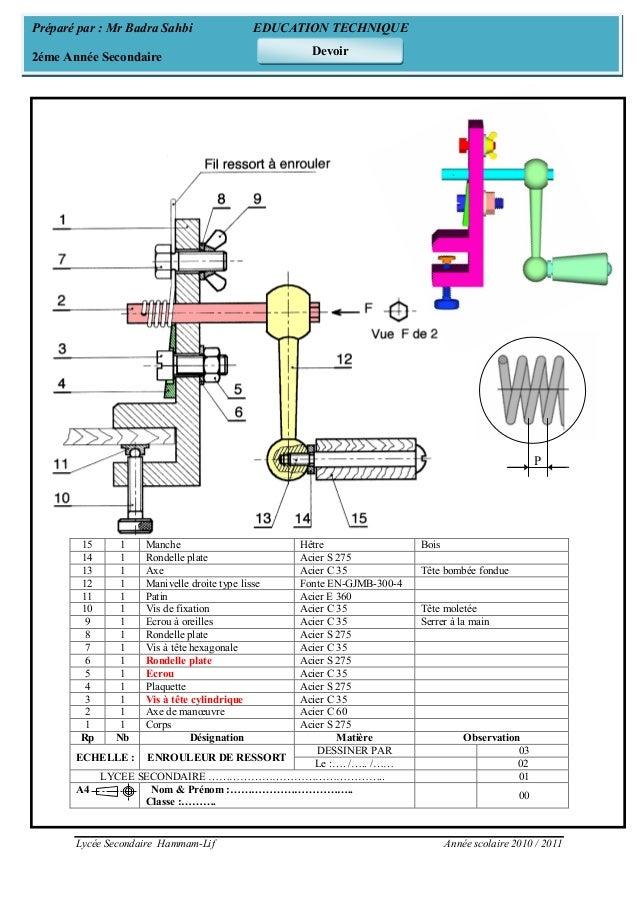 Lycée Secondaire Hammam-Lif Année scolaire 2010 / 2011 15 1 Manche Hêtre Bois 14 1 Rondelle plate Acier S 275 13 1 Axe Aci...
