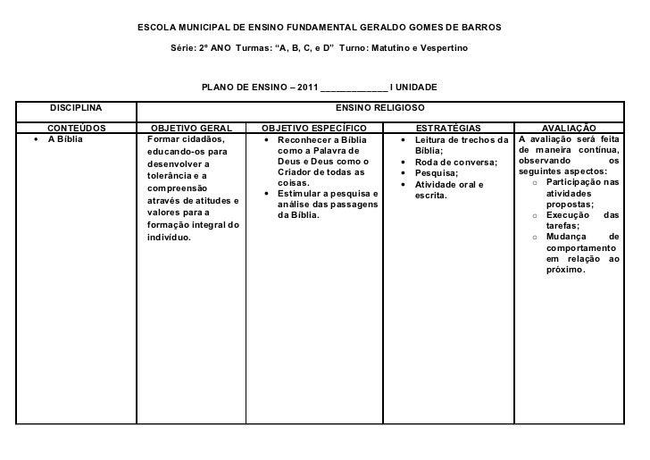 """ESCOLA MUNICIPAL DE ENSINO FUNDAMENTAL GERALDO GOMES DE BARROS                     Série: 2º ANO Turmas: """"A, B, C, e D"""" Tu..."""