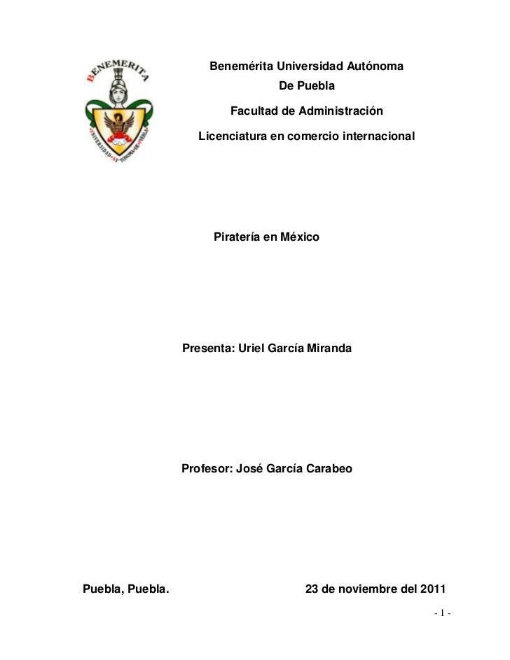 Benemérita Universidad Autónoma                                   De Puebla                          Facultad de Administr...