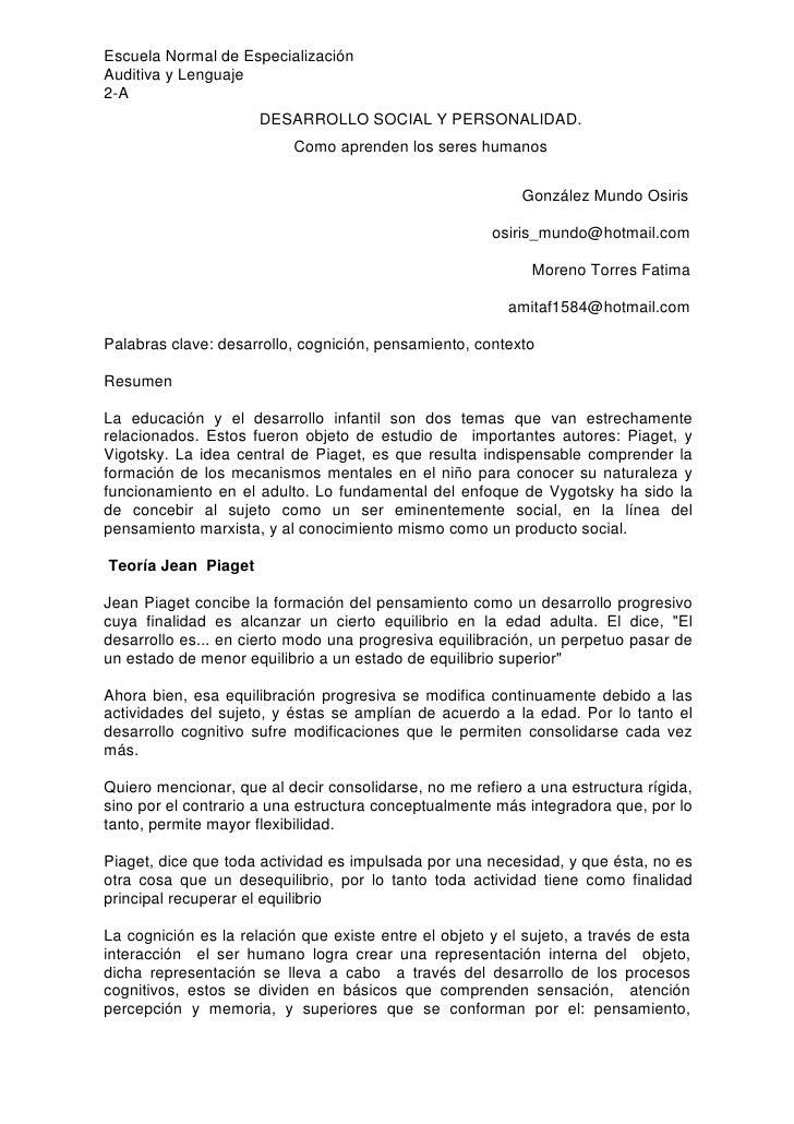 Escuela Normal de Especialización Auditiva y Lenguaje 2-A                       DESARROLLO SOCIAL Y PERSONALIDAD.         ...
